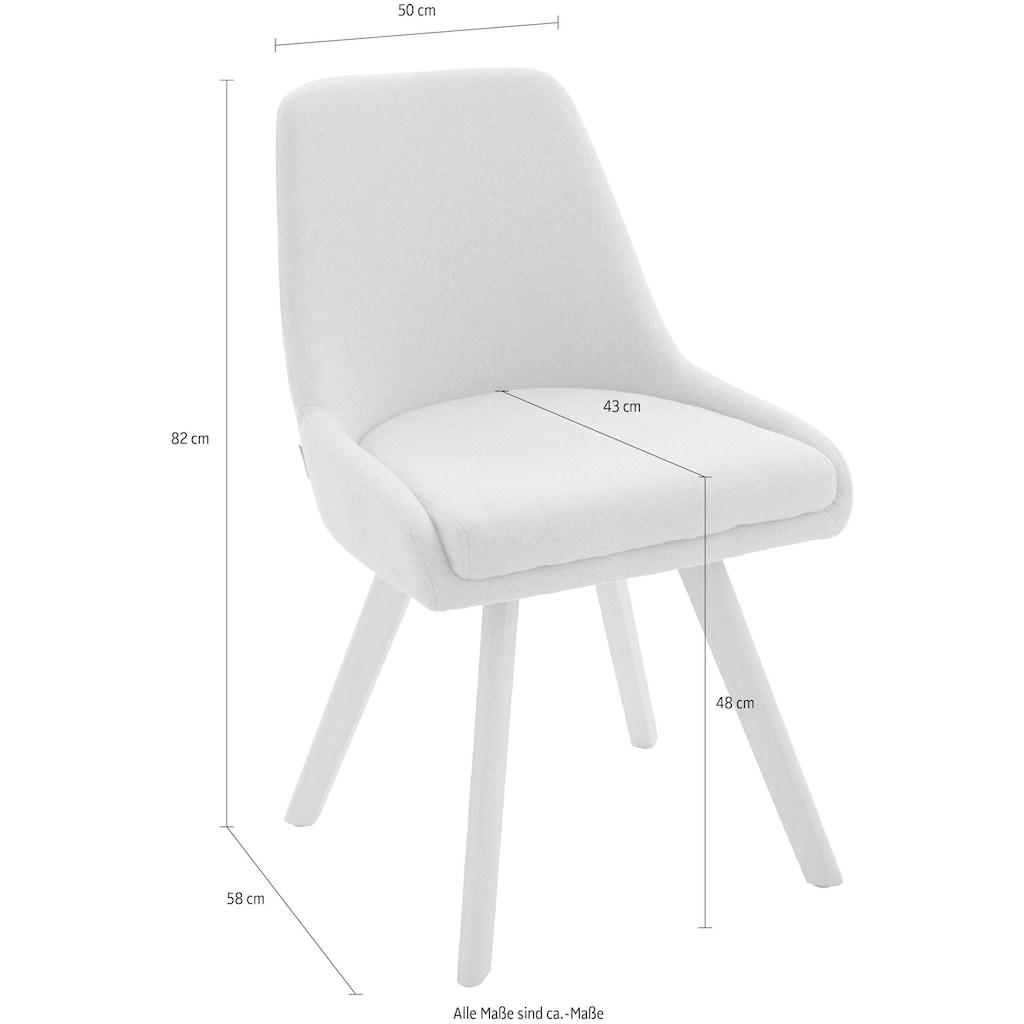 INOSIGN Stuhl »Dilla«, im 1er und 2er Set erhältlich, aus pflegeleichtem Webstoff Bezug und massiven Eichenholzbeinen, Sitzhöhe 48 cm