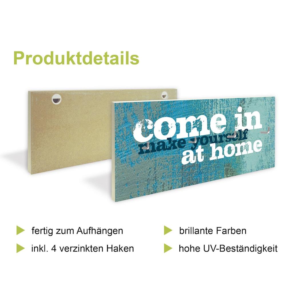 Artland Schlüsselbrett »Braune abstrakte Welle«, aus Holz mit 4 Schlüsselhaken – Schlüsselboard, Schlüsselbretter, Schlüsselhalter, Schlüsselaufhänger für den Flur – Stil: Modern