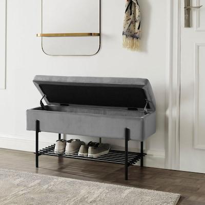 graue Schuhbank mit Stauraum