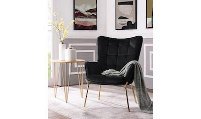 Leonique Loungesessel »Loue«, mit schönem, weichen Velvet Bezug, in verschiedenen Farbvarianten, mit Metallgestell kaufen