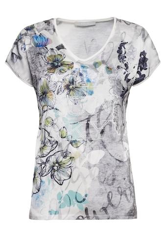bianca Print-Shirt »EDIRA«, mit trendigem Blumenprint und Statement-Schriftzug kaufen