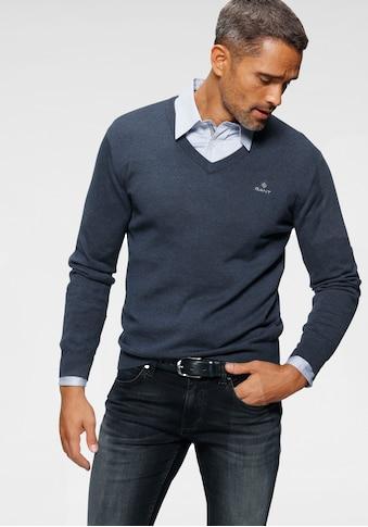 Gant V-Ausschnitt-Pullover, Feinstrickqualität aus reiner Baumwolle kaufen