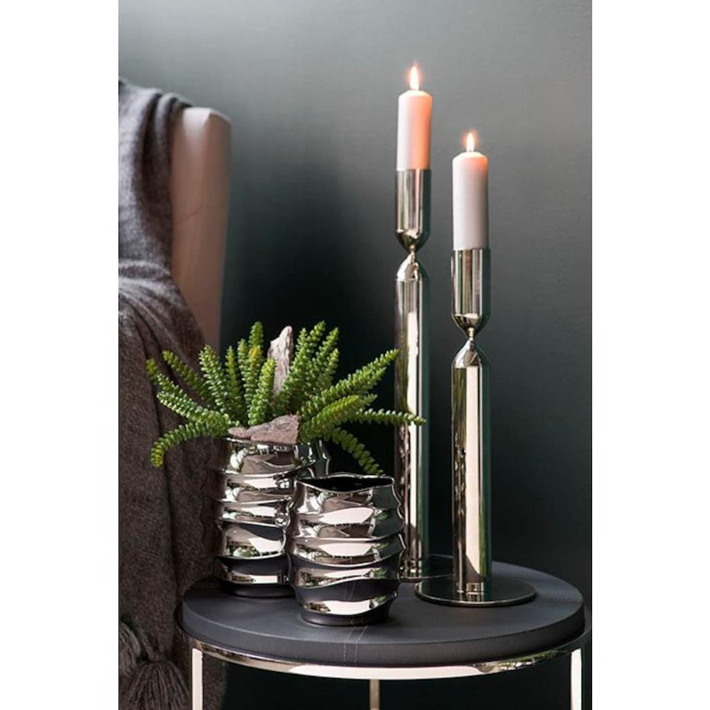 Fink Übertopf »FABIA, silberfarben«, Blumenübertopf, Blumentopf, Vase, handgefertigt, aus Keramik, verschiedene Durchmesser erhältlich, Wohnzimmer