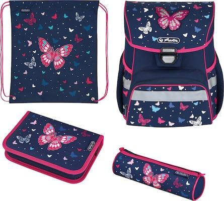 Schultasche in Dunkelblau mit Schmetterlingen