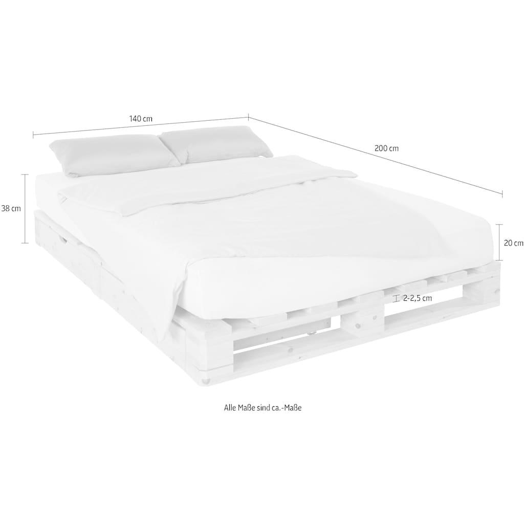 Palettenbett »Alasco«, inkl. Bettkasten aus massiver Kiefer