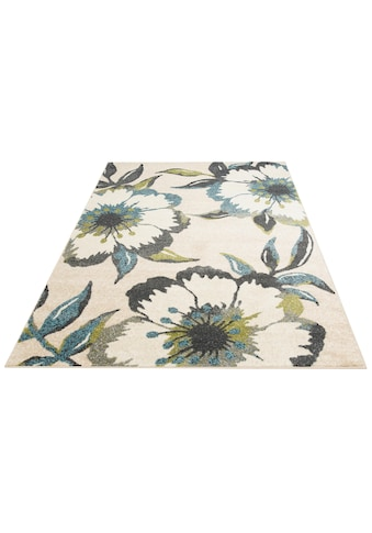 Home affaire Teppich »Kalena«, rechteckig, 10 mm Höhe, mit Blumen-Design, Wohnzimmer kaufen