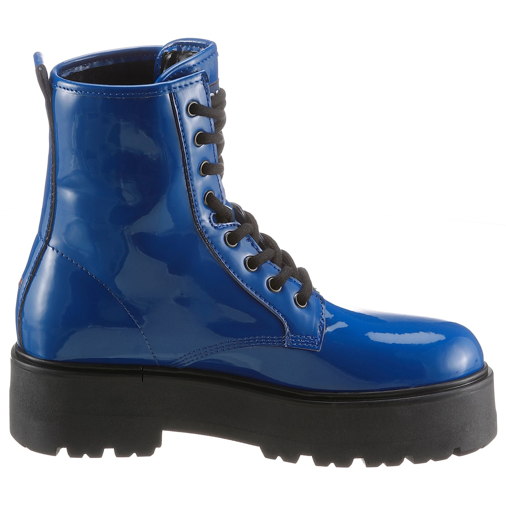 Tommy Jeans Plateaustiefelette »PATENT LACE UP BOOT«, mit Schirftzug