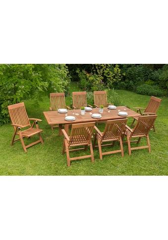 MERXX Gartenmöbelset »Commodoro«, 9tlg., 8 Sessel, Tisch, ausziehbar, klappbar, Eukalyptus kaufen