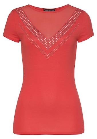 Melrose Rundhalsshirt, mit Mesh-Einsatz und Glitzersteinen kaufen