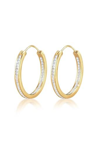 Elli Paar Creolen »Creolen Swarovski® Kristalle Rund 925 Silber« kaufen