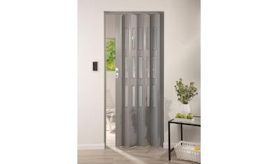 Falttür »Elvira«, Höhe nach Maß, grau gewebt mit Cristall Fenstern kaufen