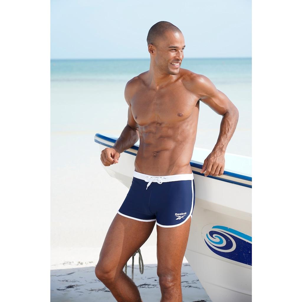 Reebok Boxer-Badehose, mit kontrastfarbenem Einfass