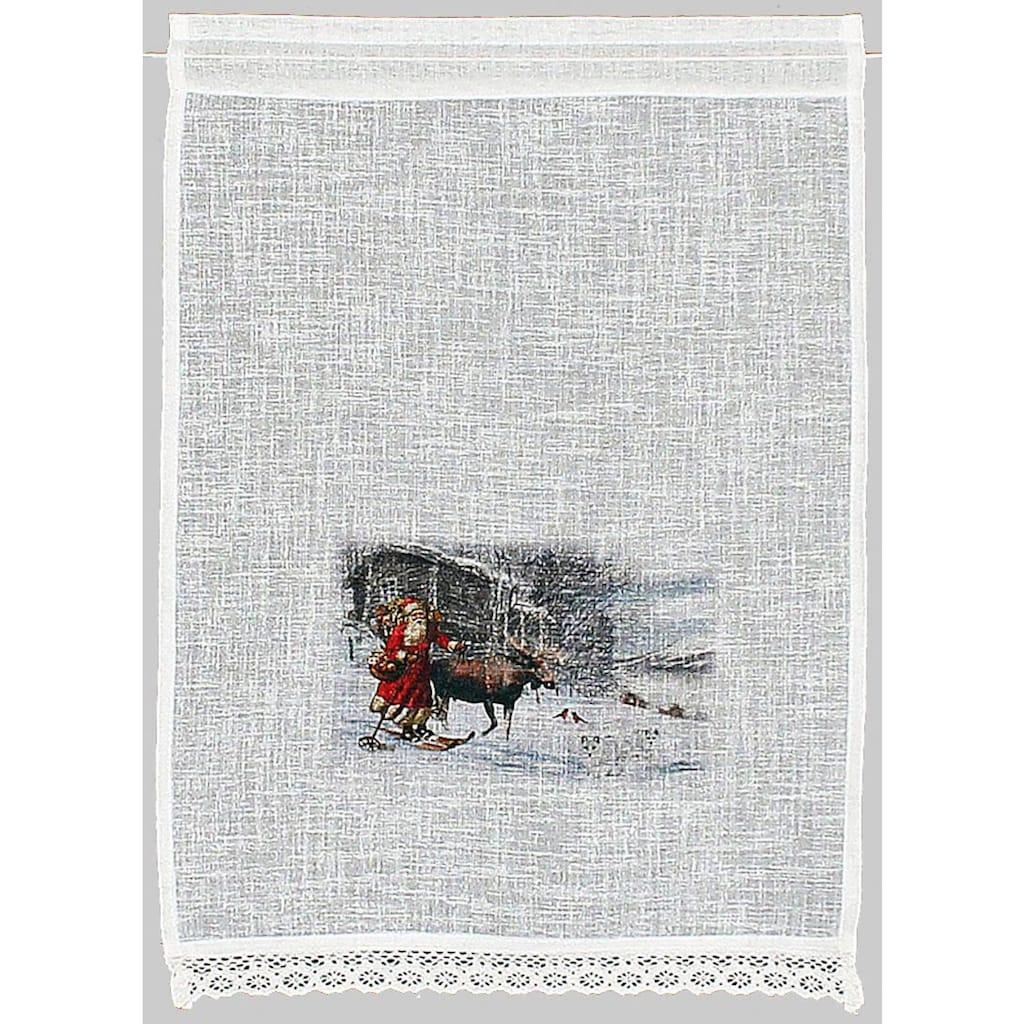 HOSSNER - ART OF HOME DECO Scheibengardine »Weihnachtsmann«, Landhaus-Look