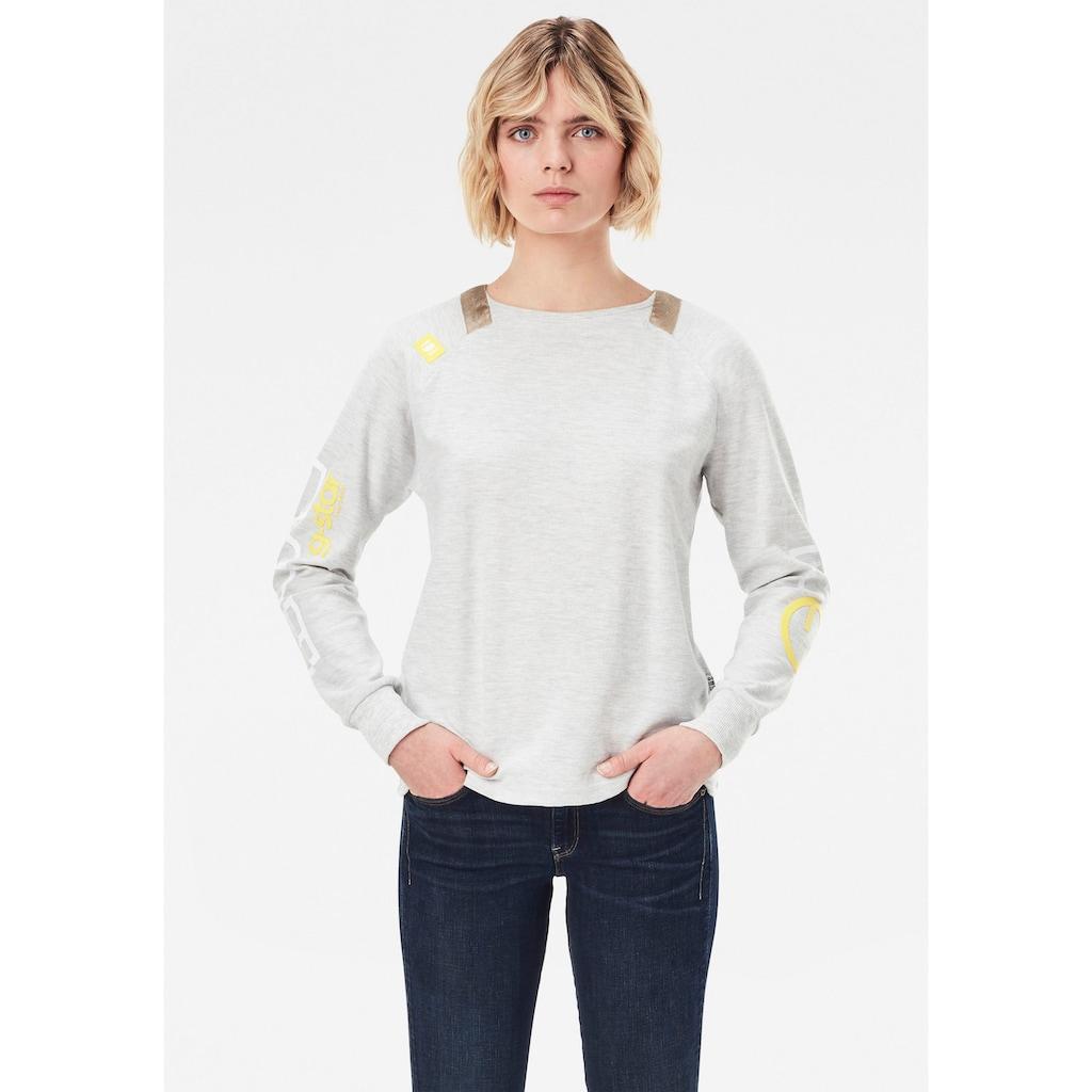 G-Star RAW Sweatshirt »Sleeve Print Tweater«, mit Gewebebändern am Rundhalsausschnitt
