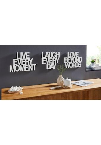 andas Wanddekoobjekt »Schriftzug Live every Moment - Love beyond Words - Laugh every... kaufen