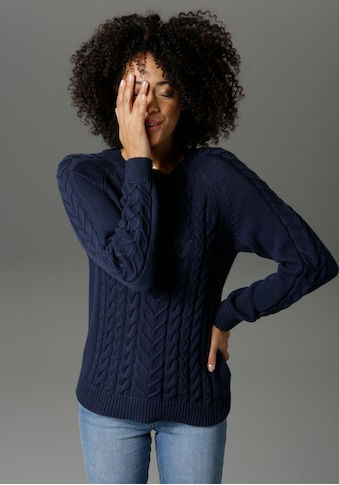 Aniston CASUAL Rundhalspullover, mit Zopfmustern verziert - NEUE KOLLEKTION kaufen