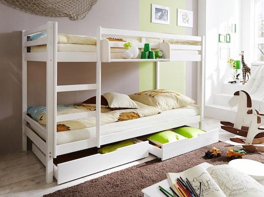 Etagenbett in Weiß mit Schubladen unter dem Bett