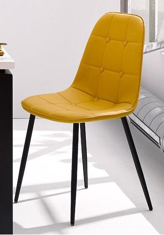 my home Esszimmerstuhl »Luna«, Bezug in Kunstleder, schwarzes Metallgestell kaufen
