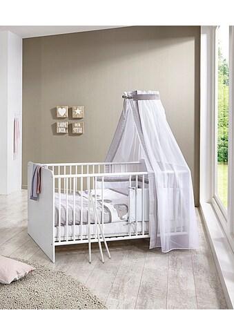 BMG Babyzimmer-Komplettset »Luis«, (Set, 11 tlg.), Bett + Wickelkommode + 2-trg. Schrank + Standregal + Unterstellregal (Set 2-tlg.) + Wandboard + Matratze & Textil-Set von Alvi kaufen
