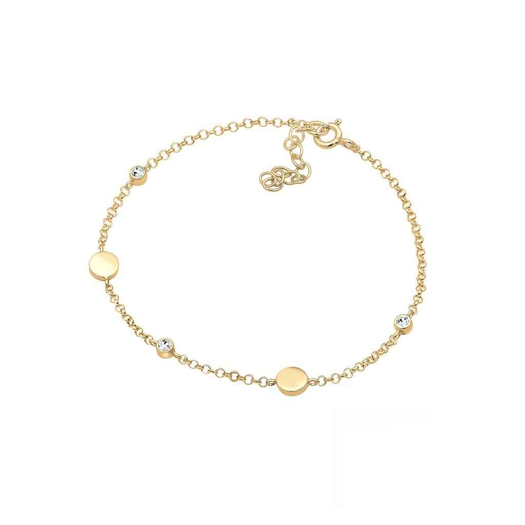 Elli Armband »Plättchen mit Kristalle Rund vergoldet«