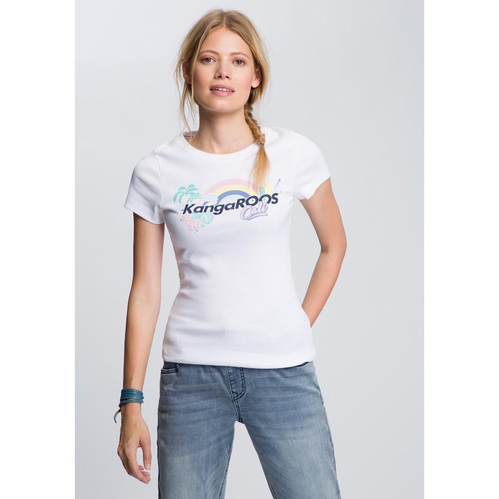 KangaROOS T-Shirt, mit angesagtem Regenbogen Label-Druck
