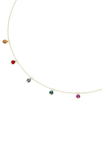Firetti Kette mit Anhänger »Ankerkette, Gelbgold, glänzend, massiv, bunt«, mit Kristallsteinen kaufen