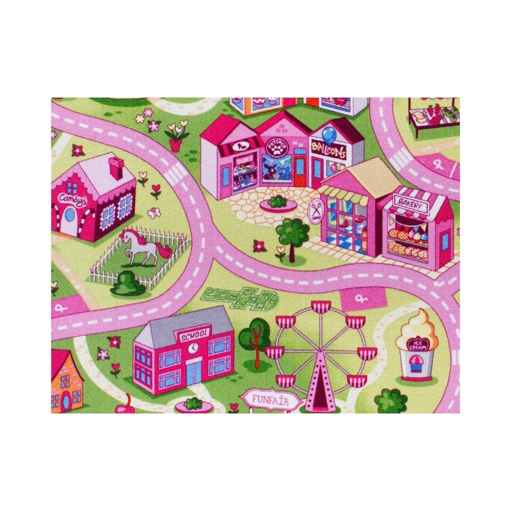 Andiamo Kinderteppich »Coupon Sweet Town«, rechteckig, 3 mm Höhe, Meterware, Breite 400 cm, Wunschmaßlänge