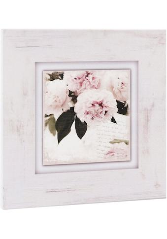 Home affaire Holzbild »Rosa Blumen« kaufen