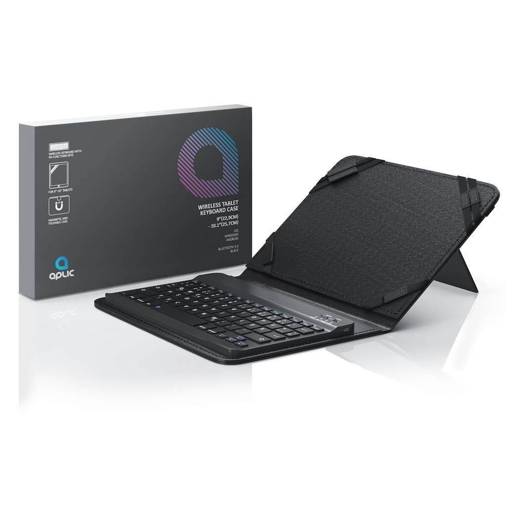 "Aplic Bluetooth-Tastatur inkl. Kunstledercase für 9-10"" Tablets"