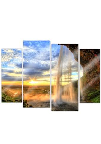 Wall-Art Mehrteilige Bilder »Fernweh Wasserfall (4-teilig)«, (Set, 4 St.) kaufen