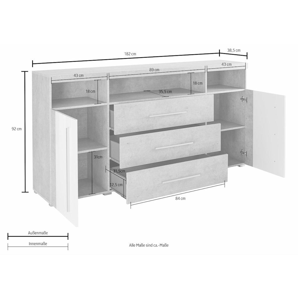TRENDMANUFAKTUR Sideboard »Roger«, Breite 182 cm