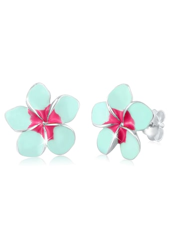 Elli Paar Ohrstecker »Frangipani Blüte Natur Blume Emaille 925 Silber« kaufen