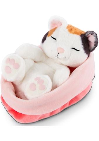 Nici Kuscheltier »Sleeping Kitties, Katze, 16 cm, creme«, mit rot-rosa Körbchen kaufen