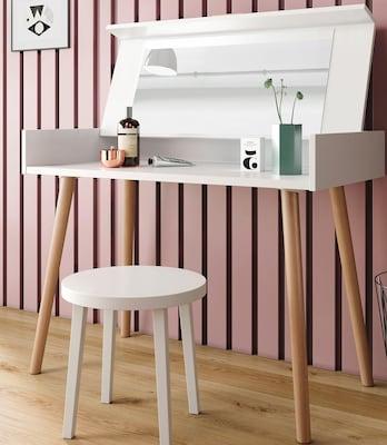 moderner, weißer Schminktisch mit Holzfüßen