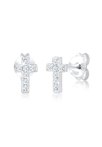 Diamore Paar Ohrstecker »Stecker Kreuz Glaube Diamant (0.07 ct.) 925 Silber« kaufen