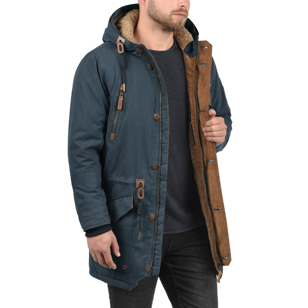 Solid Parka »Vidage«, warme Jacke mit abnehmbarem Kunstfellkragen