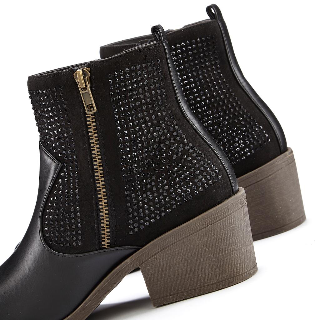 LASCANA Stiefelette, mit kleinen Steinchen und modischem Blockabsatz