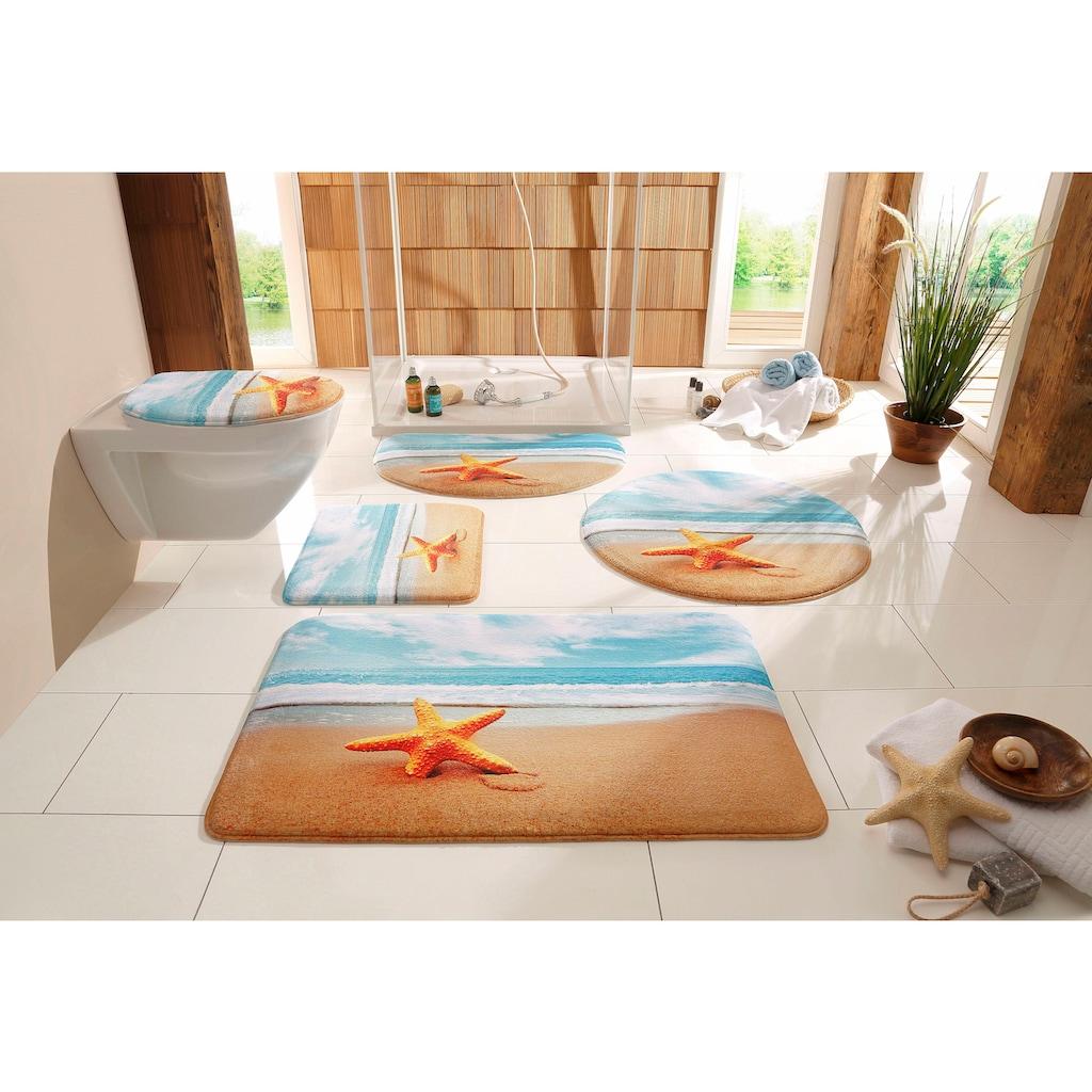 my home Badematte »Seestern«, Höhe 14 mm, rutschhemmend beschichtet, fußbodenheizungsgeeignet