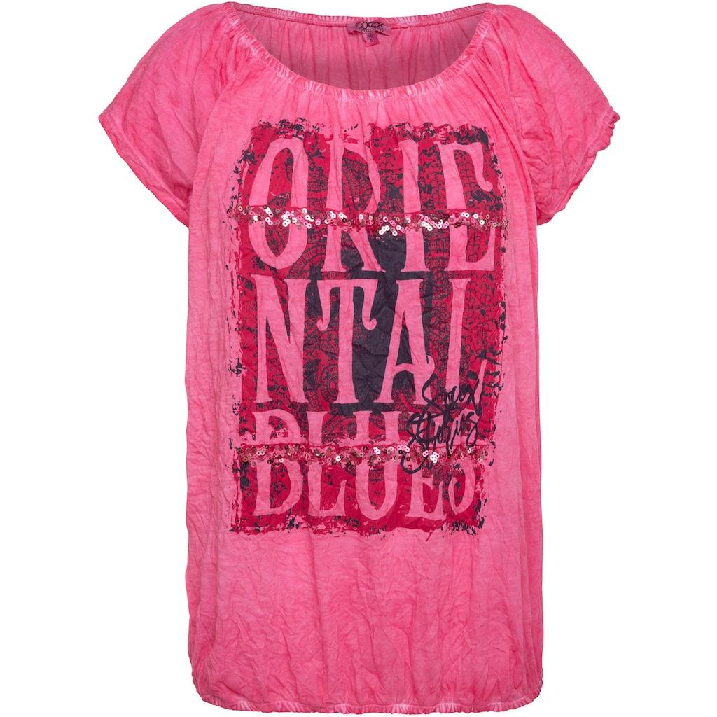 SOCCX T-Shirt, mit großem Print und Pailletten vorne