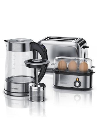 Arendo Frühstücks-Set »Wasserkocher, Toaster und Eierkocher«, 3-teilig in Edelstahl Optik kaufen