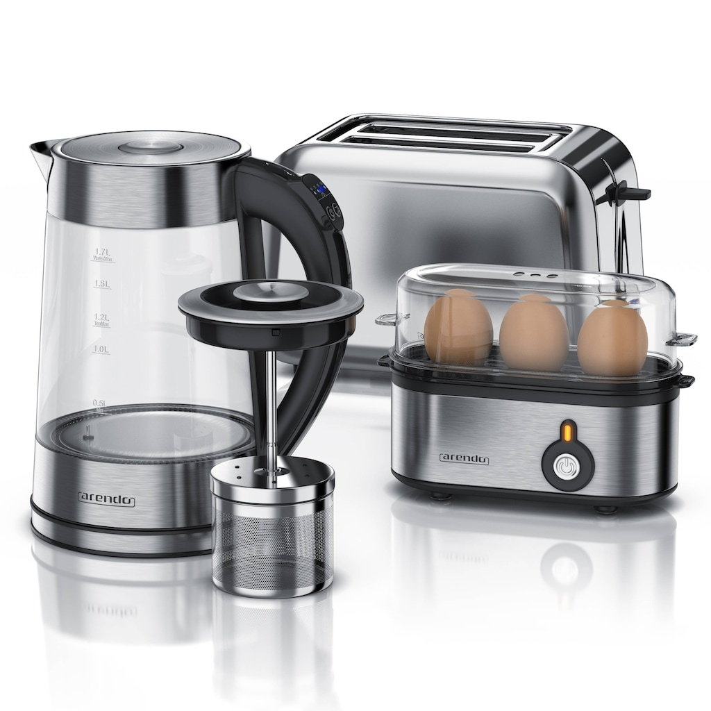Arendo Frühstücks-Set 3-teilig in Edelstahl Optik