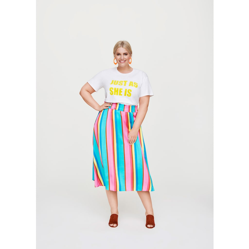 Rock Your Curves by Angelina K. Statement-T-Shirt mit Flocksamt-Print