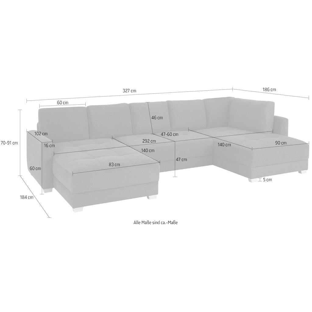 DELAVITA Wohnlandschaft »Casella«, mit Bettfunktion und Bettkasten, Steppung im Sitzbereich