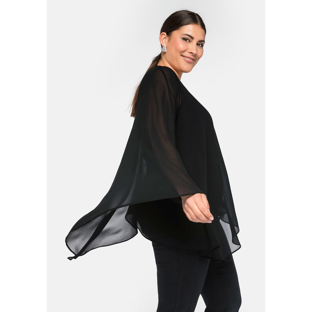 Sheego Longtunika, im Materialmix, in A-Linie