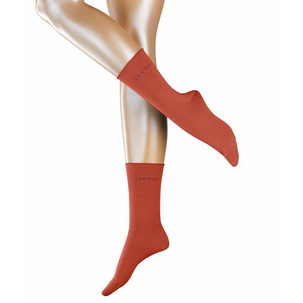 Esprit Socken »Basic Pure 2-Pack«, (2 Paar), mit hohem Baumwollanteil