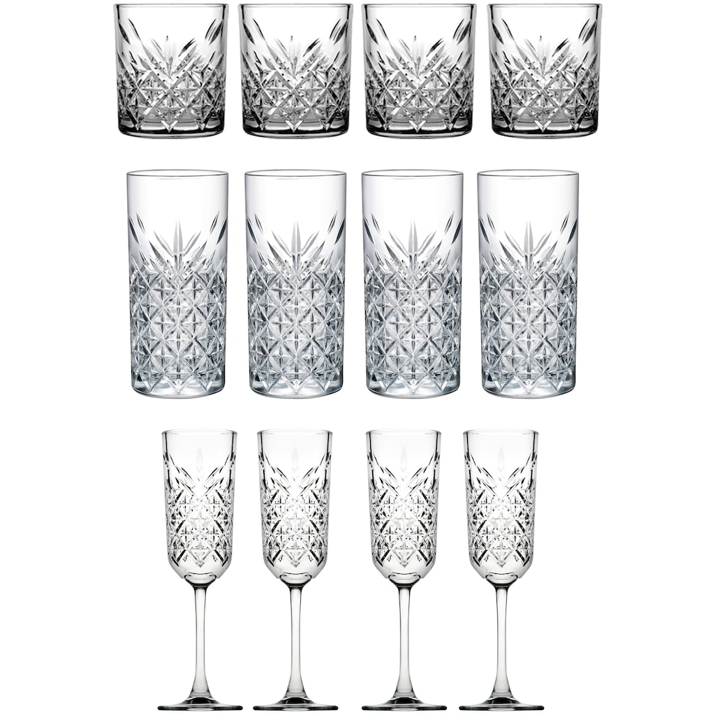 van Well Gläser-Set »Timeless«, (Set, 12 tlg.), Strukturglas