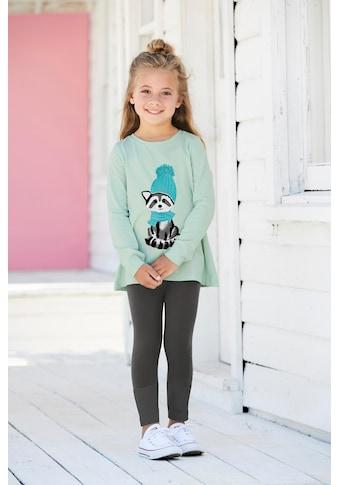 KIDSWORLD Shirt & Leggings »Waschbär«, mit Flockdruck-Details kaufen