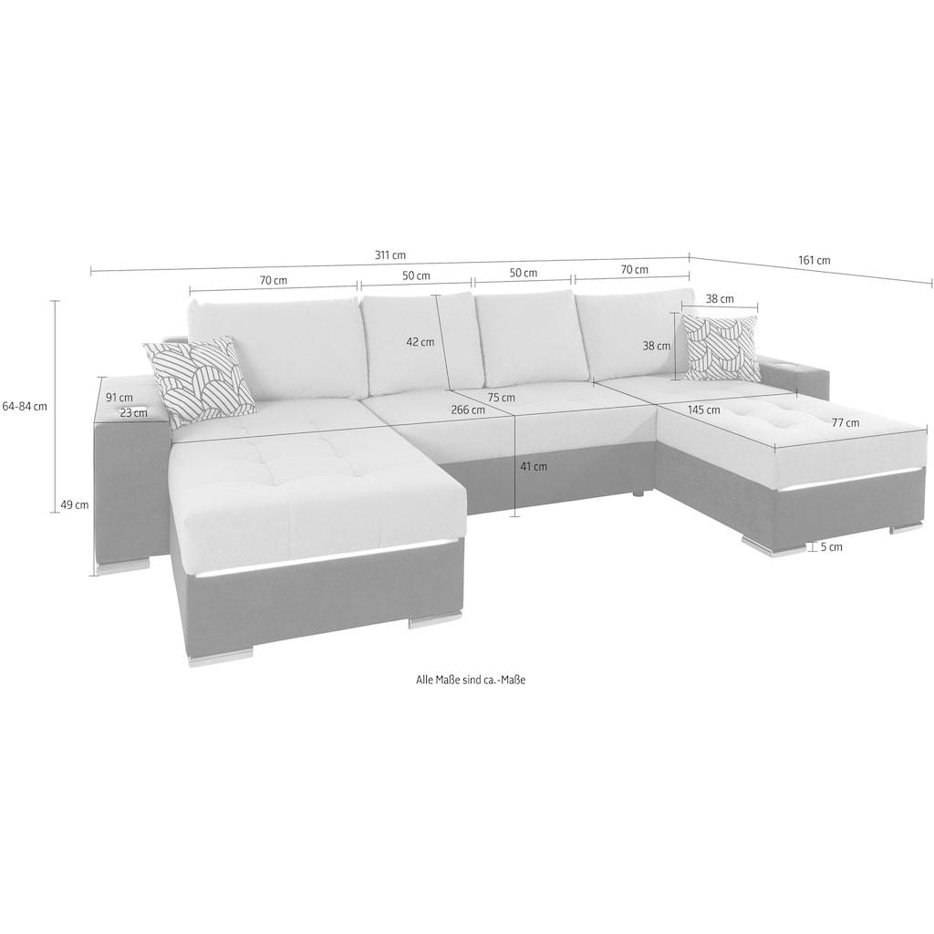 COLLECTION AB Wohnlandschaft, wahlweise mit Bettfunktion und Bettkasten oder RGB-LED Beleuchtung und Telefon-Ladestation, inklusive Federkern, frei im Raum stellbar
