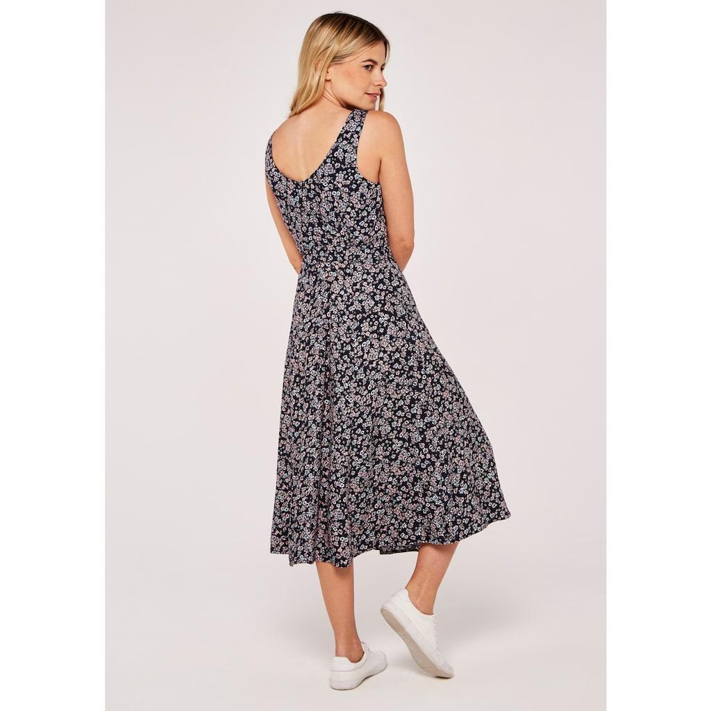 Apricot Druckkleid »Floral Pleat Neck Slits Midi Dress«, (mit Bindegürtel), mit Rückenausschnitt