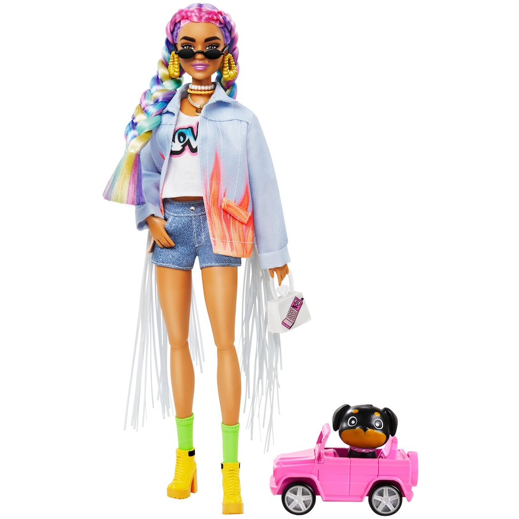 Barbie Anziehpuppe »EXTRA«, mit geflochtenem Regenbogen-Zopf und Hündchen